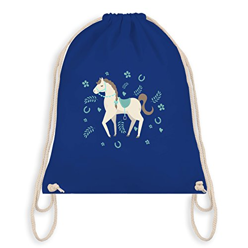 Tiermotive Kind - Süßes Pony - Turnbeutel I Gym Bag Royalblau