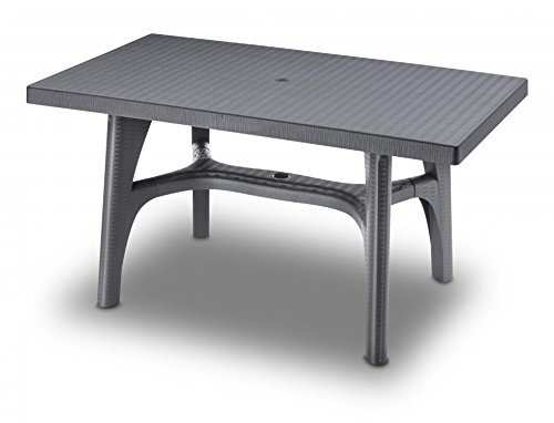 Ideapiu Table rectangulaire 140 x 80, Table rotin synthétique tressé, Table, Table Anthracite