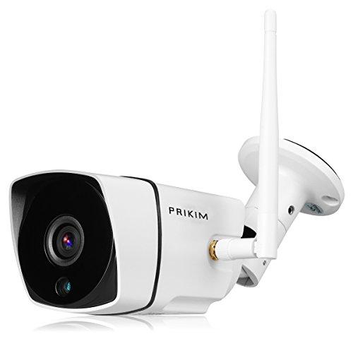 PRIKIM Überwachungskamera 720P Drahtlos WiFi Bullet IP Kamera IR Nachtsicht Wasserdicht Bewegungserkennung Alarm für Home Surveillance System Windows/iOS/Android unterstützt - Außerhalb Home-security-kameras Der