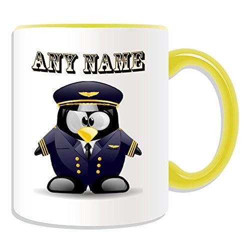 Personalisierter Becher in Marine-Pilot (in Pinguin-Kostüm-Design, verschiedene Farben), Name und Nachricht an ihr einzigartiges, Piloten Uniform Luftfahrzeuge, keramik, gelb (Pilot Boy Kostüm)