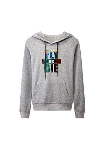 Yacun féminin lettre longue manches à capuche Sweatershirt Grey