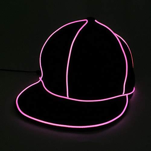 Yaal LED Leuchtende Hut, Kostüm Neon Hip Hop Baseball Cap EL Cap Cold Light Festival Party Dance Für Hochzeitsdekoration Street Dancer Party,Pink