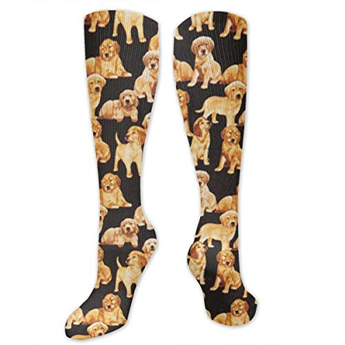 Gped Socken, Black Golden Retriever Dog Puppy Kniestrümpfe for Women & Men - Best for Running, Athletic Sports, Crossfit, Flight Travel -Maternity Pregnancy, Shin Splints - Below Knee High -