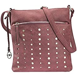 APC-NCC Lederwaren Damen Crossovertasche in Pu mit Lasercut Schultertasche, Rot (Bordo), 26x2x27.5 cm
