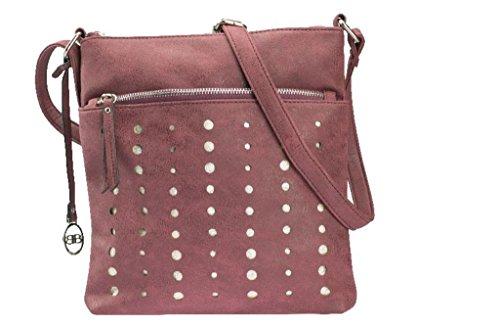 Unbekannt Damen Crossovertasche in Pu mit Lasercut Schultertasche, 26x2x27.5 cm Rot (Bordo)