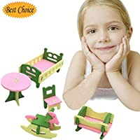 bluesees Dolls House Furniture Maternal and Child Room Wooden Furniture Set Wooden Puzzle Dollhouse Toy Set For Children