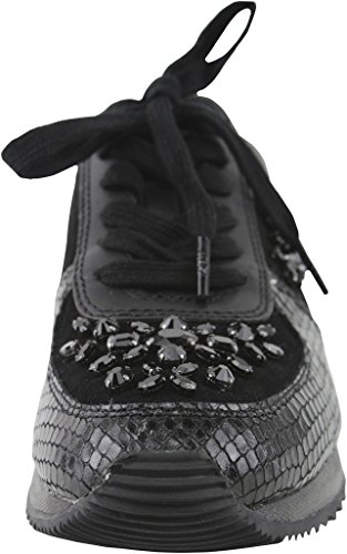 Michael Kors Sneakers Allie Wrap Trainer Silver Metallic Snake Noir