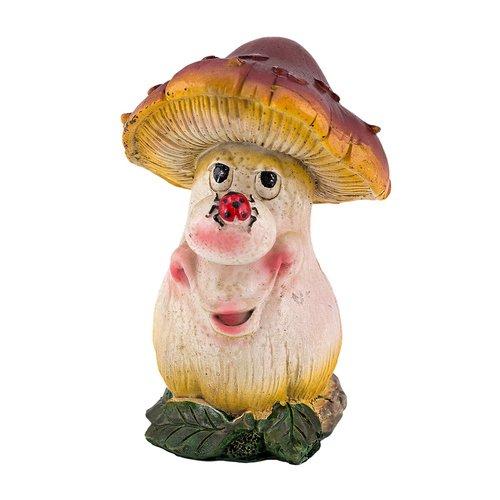 Pilzfigur, Gartenfigur, Dekofigur, Pilz mit lustigem Gesicht