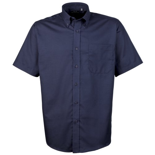 Premier Kurzarm Popeline-Hemd Navy 16.5 (Baumwolle Hemd Falten)