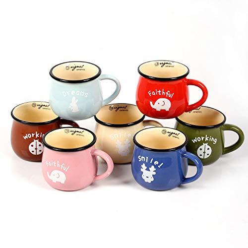 ZYJ Milch Frühstückstassen, Kaffeetasse Retro Keramik Tasse Big Belly Cup Farbe Glasur Becher 7 STÜCKE,350ml