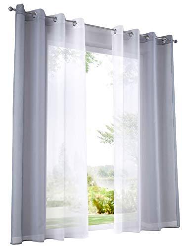 BAILEY JO 2Pcs Rideau Voilage LxH/140x225cm Dégradé de Couleur Gris Rideaux à Oeillet Décoration de Fenêtre Chambre/Salon/Balcon