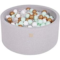 MEOWBABY 90x40cm/300 Balles ∅ 7Cm Piscine À Balles pour Bébé Enfant Rond Fabriqué en UE Gris Clair: Blanc/Or/Transparent/Menthe