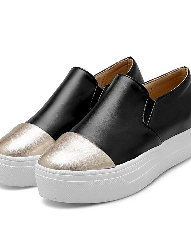 ZQ gyht Scarpe Donna - Mocassini - Tempo libero / Formale / Casual - Creepers / Punta arrotondata - Plateau - Gomma - Nero / Bianco , white-us8 / eu39 / uk6 / cn39 , white-us8 / eu39 / uk6 / cn39 black-us8 / eu39 / uk6 / cn39