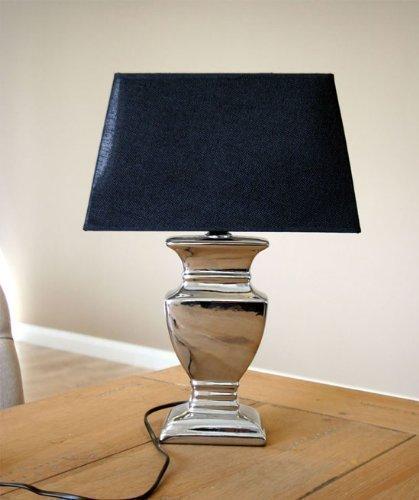 Tischlampe Tisch-Lampe Tischleuchte 52 cm Schirm schwarz/silber Shabby Landhaus