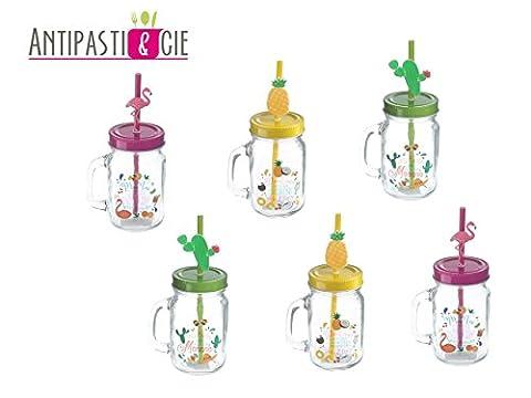 Set de 6 mugs mason jar verres à cocktail exotique, ananas, cactus et flamant rose, idéal mojito margarita sangria