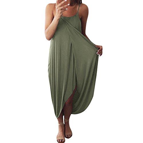 Markthym Damen Sommerkleider Kleiden Frauen-Kleid-Sommer-lose Riemen-eleganter Feiertags-beiläufiges Partei-Strandkleid Ärmelloses Trägerarmband der Frauen unregelmäßiges geteiltes Grün S