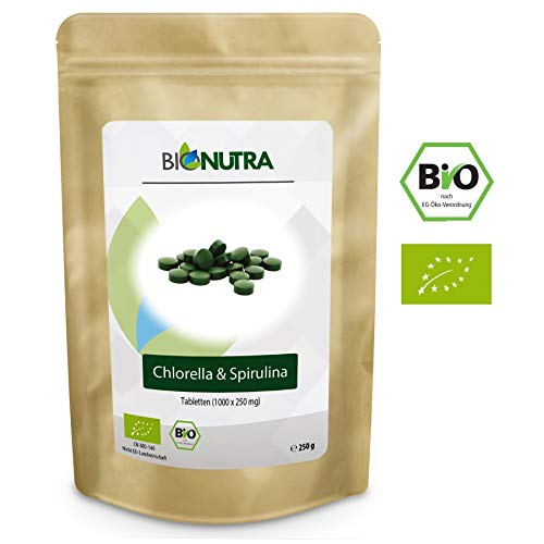 BioNutra Chlorella-Spirulina-Presslinge Bio 250 g, 1000 x 250 mg Mix-Tabletten, ohne Zusätze, rückstandskontrolliert, aus kontrolliert biologischer Kultur