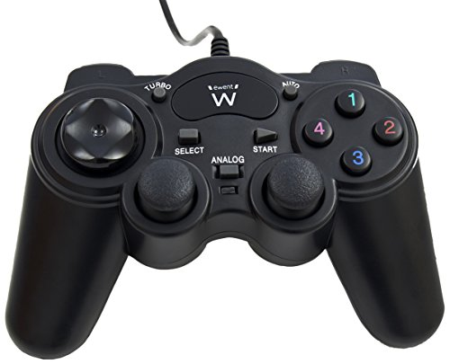 Ewent EW3170 Controller Joypad USB Double Shock, Compatibile con iOS/Android/ PC/PS3/Xbox, Nero
