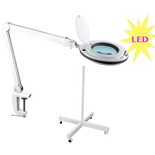 LED-Lupe 5Dioptrien Tischklemme Professionelles Stativ für Kosmetikerin