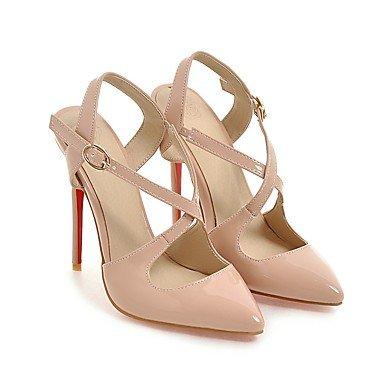 LvYuan Da donna-Sandali-Ufficio e lavoro Formale Serata e festa-Club Shoes-A stiletto-PU (Poliuretano)-Nero Bianco Tessuto almond Black