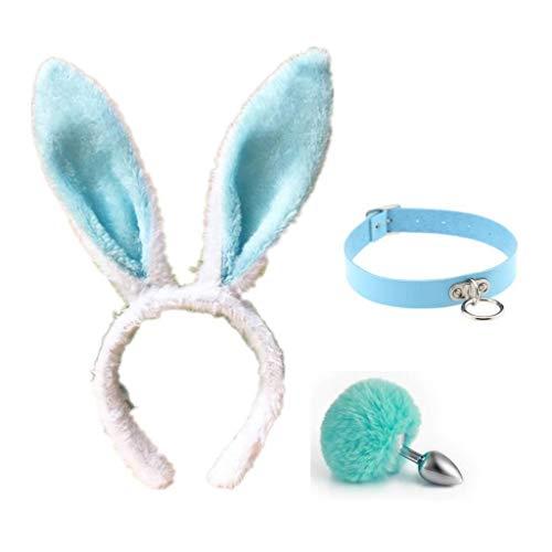 QWYY Katze Cosplay Cos-Kragen, Kaninchen Metall Schwanz Plüsch und Ohren (blau und weiß) Glamour weibliche Maskerade Requisiten gesetzt Set Katzenohren (Böse Kaninchen Kostüm)