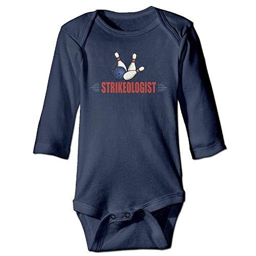 MSGDF Unisex Toddler Bodysuits Funny Bowling Girls Babysuit Long Sleeve Jumpsuit Sunsuit Outfit Navy Lace Velvet Romper