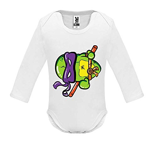 LookMyKase Body bébé - Manche Longue - Turtle Violet - Bébé Garçon - Blanc - 3MOIS