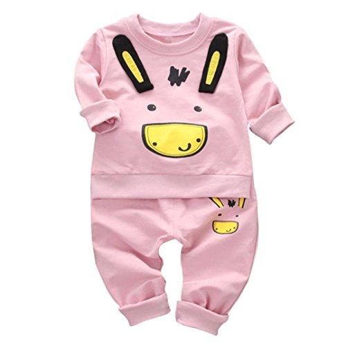 Mode 2Stk Säugling Kleinkind Baby Jungen Karikatur Drucken Lange Hülse Tops + Hosen Outfits Baumwolle Kleider Set_Hirolan (80cm, Rosa) (Kaninchen Kostüme Ideen)