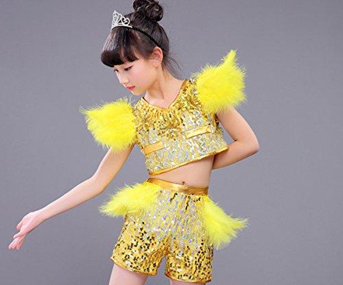 Kinder jazz dance kostüm modernen tanz hip-hop leistung kleidung , yellow , (Mädchen Kostüme Hop Hip Tanz)