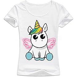 Desshok Mujer Unicornio Camiseta de verano manga corta T shirt Tops