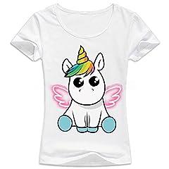 Idea Regalo - JLTPH Unicorno T-shirt Maglietta Donna Stampato Maglioni Magliette A Maniche Corte Camicie