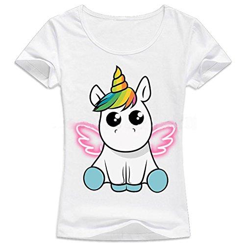 JLTPH Sudaderas de Mujer Sport Manga Corta Camisetas Estampada Unicornio Impresión Tops