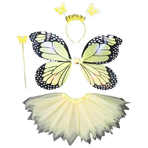 A0127 Erwachsene Kinder 4 Stücke Fee Kostüm Set LED Simulation Schmetterlingsflügel Spitz Tutu Rock Stirnband Zauberstab Prinzessin Mädchen Party Dress Up - Licht Blau Rock Linie Eine