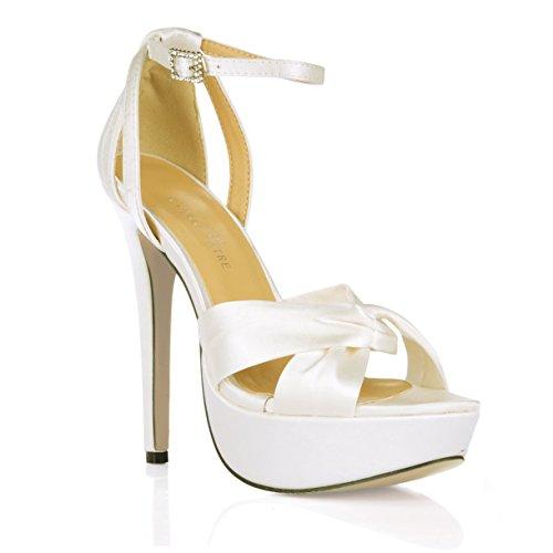 Weibliche Europäische und Amerikanische neue Sandalen noble Hochzeit Braut Frau wasserdicht Desktop milchig weißen high-heel Schuhe, Opal Oberteil (Patent Beige Sandalen Damen)