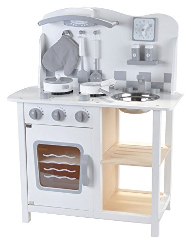 Holz Kinderküche mit Zubehör (Weiß)
