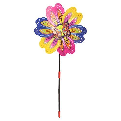 Fogun Windmühle, 3D Butterfly Flower Windmill Wind Spinner Home Garden Yard Decoration Kids Toy Farbe Zufällige Lieferung -