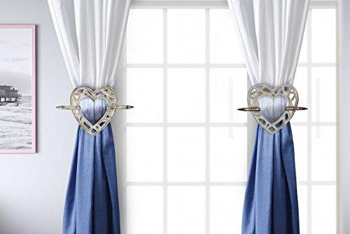 Ideen Behandlungen Fenster (Store Indya, Dekorativ Holzern Vorhang Raffhalter mit Rustikales Herzformiges Entwurf Set von 2 Vorhang Brosche Raffspange Haus Dekorativ)