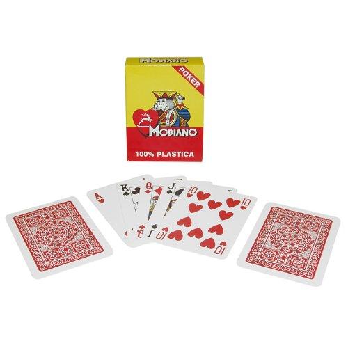 (Markenzeichen Poker Modiano 100% Kunststoff Poker Größe Reg Index Single Deck Spielkarten (rot))