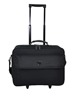 Aerolite® Black Lightweight and Tough Wheeled Cabin Size Luggage Laptop Trolley Bag, Dimensions: 40cm x 37cm x 23cm, Weight: 2.37Kg, capacity 23L