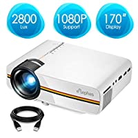 Projector, ELEPHAS 2800 Lux LED Video Projector, Updated LCD Technology Support 1080P Portable Mini Multimedia Projector Ideal for Home Theater Entertainment Games Parties, White