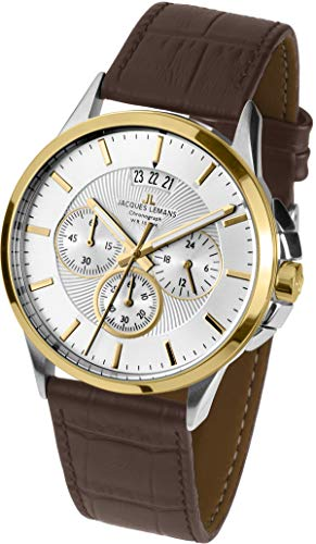Jacques Lemans Sydney Homme 42mm Bracelet Cuir Marron Quartz Montre 1-1542R