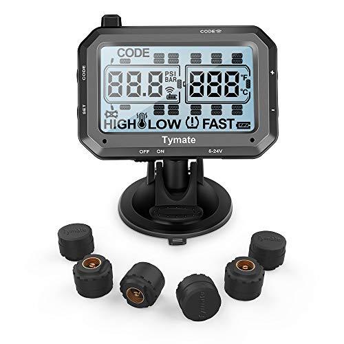 Tymate LKW Reifendruck-Kontrollsystem, Echtzeit tpms mit 6 außer sensoren (bis zu 22 Sensoren Unterstützen) und Repeater, LCD, 0-188 PSI / 0-13 BAR, 5~24 V für Wohnmobile LKW-Abschleppwagen Bus