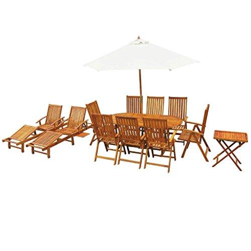 binzhoueushopping Ensemble de mobilier d'extérieur 13 pcs en Bois d'acacia Massif Durable et résistant aux intempéries Dimensions de la Chaise Longue 200 x 68 x (30-86) cm (I x P x H)