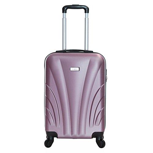 Slimbridge bagaglio a mano dura valigia rigida 55 cm 2,5 kg 35 litri con 4 ruote robuste e numero di blocco, Ferro Oro rosa