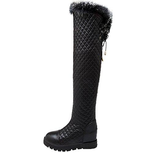 HooH Femmes Sur le genou Bottes L'hiver Chaleureux Fourrure de lapin Rhombus Platform Bottes hautes Noir