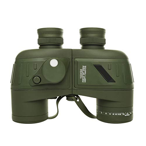 Aingol 10X50 binocolo Marino per Adulti binocolo Militare Impermeabile con teleMetro Bussola BAK4 Prisma FMC Lente antiappannante per la Navigazione Birdwatching Caccia