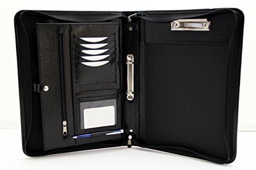 Noda (Faux PU Leder Business mit Reißverschluss Konferenz Ordner A4Padfolio 2Ring Binder mit Klemmbrett Schwarz
