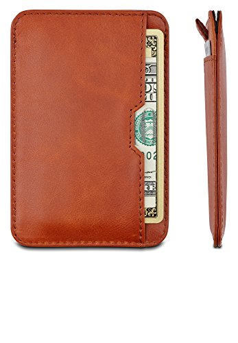 Chelsea Slim Card Sleeve Wallet with RFID Protection by Vaultskin – Top Quality Italian Leather – Ultra Thin Card Holder Design For Up To 12 Cards (Cognac)