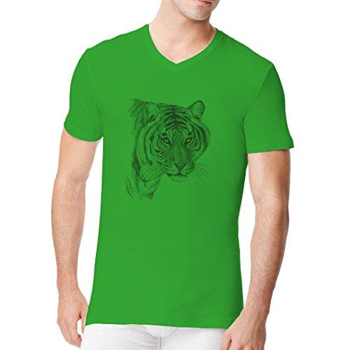 Männer V-Neck Shirt - Gray Tiger by Im-Shirt Kelly Green