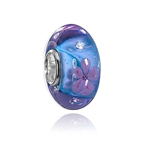 MATERIA Murano Beads blau violett Element mit Blüten - 925 Silber Beads Glas aus edlem Muranoglas mit 4 Zirkonia #339